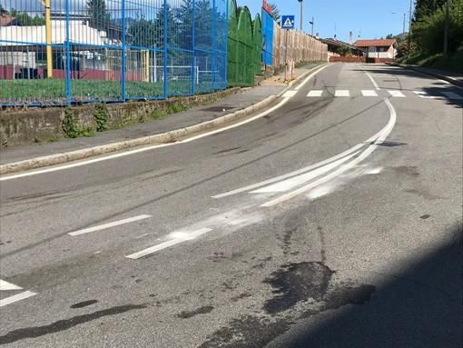 Il luogo del tragico incidente in via Rovereto a San Fermo