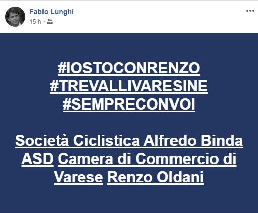 «Un secolo di Tre Valli non si può cancellare»: Lunghi lancia l'hashtag #iostoconrenzo