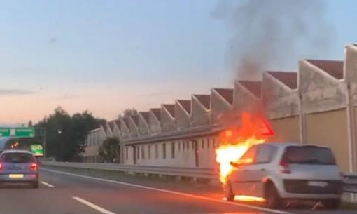 FOTO E VIDEO. Auto in fiamme sull'Autolaghi tra Solbiate e Castronno: colonna di fumo e code