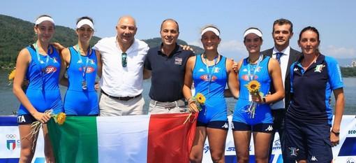 Il 4 di coppia femminile targato Canottieri Gavirate che oggi ha conquistato l'oro dopo il bronzo di ieri