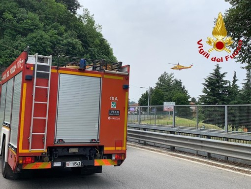 Incidente in moto a Besozzo, elisoccorso in azione: un ferito grave