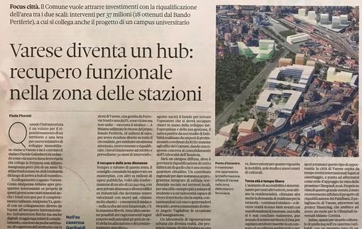 La Varese che verrà finisce sul Sole24Ore: «La città diventa hub»