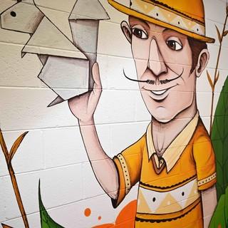 Il murales realizzato all'interno dell'azienda Scoiattolo