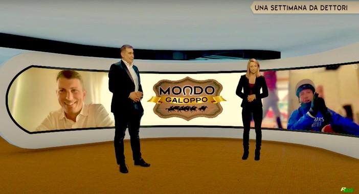 Filippo Brusa e Sara Del Fabbro in una puntata di Mondo Galoppo dedicata ai Dettori: a destra il mitico Frankie, numero uno dei fantini al mondo, e a sinistra il cugino allenatore Diego Dettori