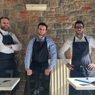 Tre amici e tre soci del Buar Bistrot: da sinistra Jacopo Castelletta, Daniele Pezzoni e Manuel Deretti