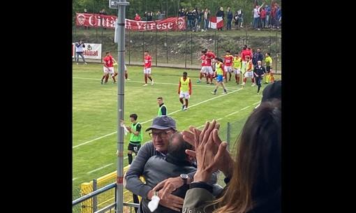 Ezio Rossi pazzo di gioia in tribuna al pari di Ebagua
