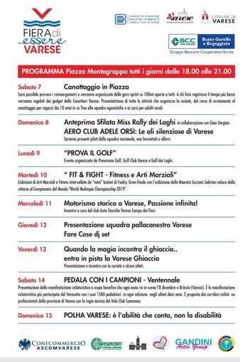 FUORI FIERA. Piazza Monte Grappa vetrina dello sport per una settimana: dalla Canottieri alla Pallacanestro Varese e non solo