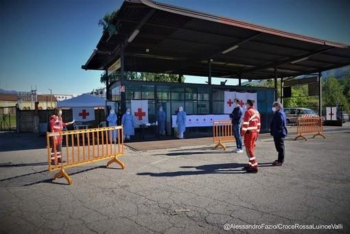 Termina oggi a Luino il servizio della Croce Rossa al presidio tamponi allestito nell'area ex Visnova