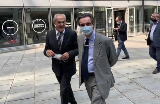 Renzo Oldani e Attilio Fontana stamattina alla presentazione del Grande Trittico Lombardo all'auditorium di Palazzo Lombardia