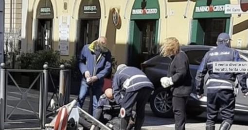 Il vento ha divelto un palo della segnaletica in via Veratti, ferita una donna