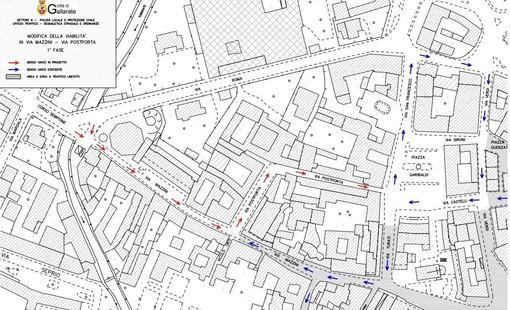 Da domani nuova viabilità a Gallarate: inversione di marcia in via Mazzini e via Postporta