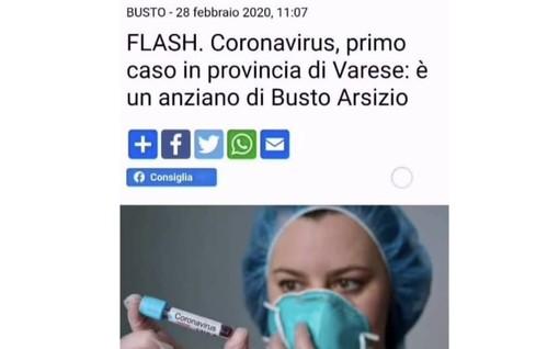 La notizie del primo caso di Coronavirus riportata dalla nostra testata: era il 28 febbraio 2020