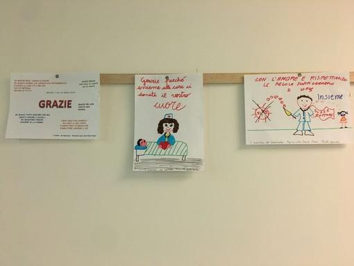 Alcuni dei disegni esposti all'ospedale di Legnano