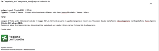 Collegamento ferroviario Varese-Milano: «E' datata maggio 2021 la richiesta protocollata rivolta all'assessora regionale Terzi per il miglioramento della linea ferroviaria»