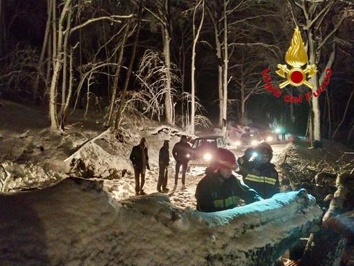 La neve fa crollare un albero sulla strada per il Campo dei Fiori e blocca una decina di auto
