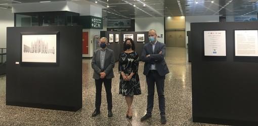 La presentazione della mostra fotografica a Malpensa con Luciano Bolzoni, Manuela Maffioli e Claudio Argentiero (nelle altre foto anche la Soglia Magica)