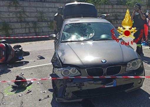 Scontro auto moto a Lavena Ponte Tresa, centauro in codice rosso