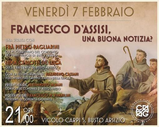 """Busto Arsizio, venerdì l'incontro """"Francesco d'Assisi: una buona notizia?"""""""