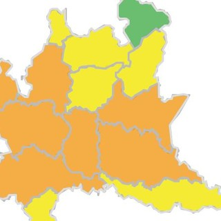 La mappa del rischio temporali in Lombardia diffusa dalla Protezione civile