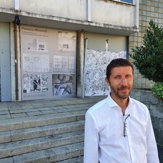 Massimo Gnocchi, candidato sindaco di Obiettivo Comune Gallarate. Sotto, la pista di atletica