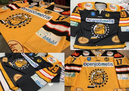 Le splendide divise con cui i Mastini giocheranno la stagione 2019/20 di IHL: gialla la maglia da casa, nera da trasferta
