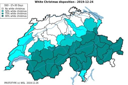 La cartina di MeteoSvizzera su Twitter della vigilia di Natale con la percentuali di possibili nevicate nel Ticino che vanno dal 50% al 90%. In anni di Vigilia e Natale senza neve, è una notizia, anzi un bel sogno