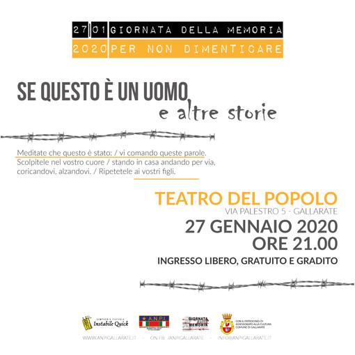Giornata della Memoria, a Gallarate commemorazione e spettacolo teatrale