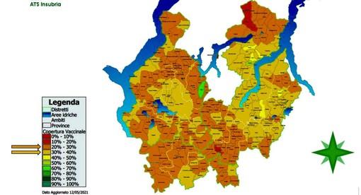 La mappa della copertura vaccinale sul territorio di Ats Insubria: più l'area è chiara, più alto è il numero di dosi somministrate. In verde le zone che hanno superato il 50%