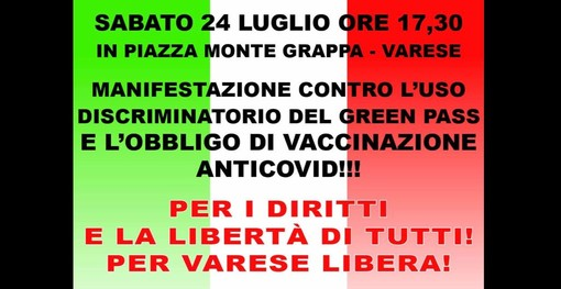 Oggi manifestazione anche a Varese contro l'obbligo di Green Pass e vaccinazione. Tomasella: «Siamo stati apripista, tante piazze ci seguono»