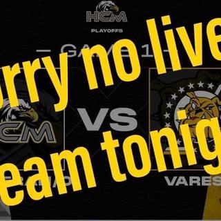 Con queste parole postate sulla sua pagina Facebook il Merano annuncia che non sarà possibile effettuare la diretta streaming di gara-1 con il Varese