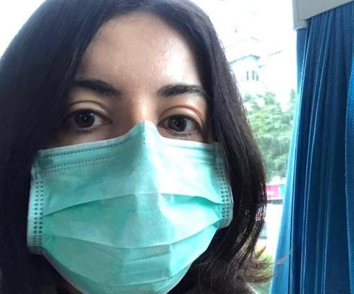 Silvia Notaro con la mascherina