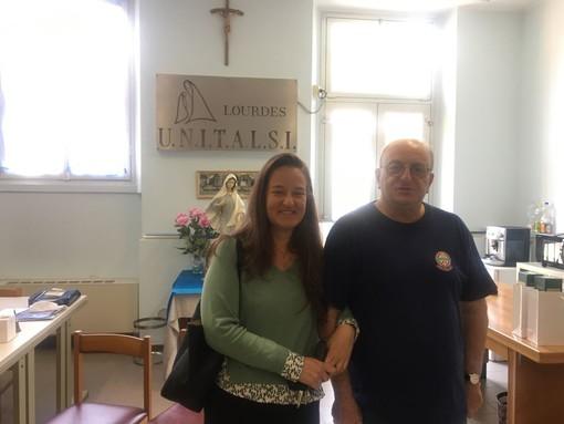 Sara Ugazio e Nicola Ruggiero nella sede Unitalsi di Busto