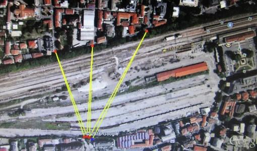 L'immagine propone le tre possibili soluzioni al lato nord della stazione FS, secondo i Verdi