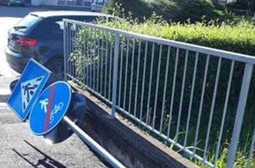 Tradate, vandali in azione contro i cartelli stradali