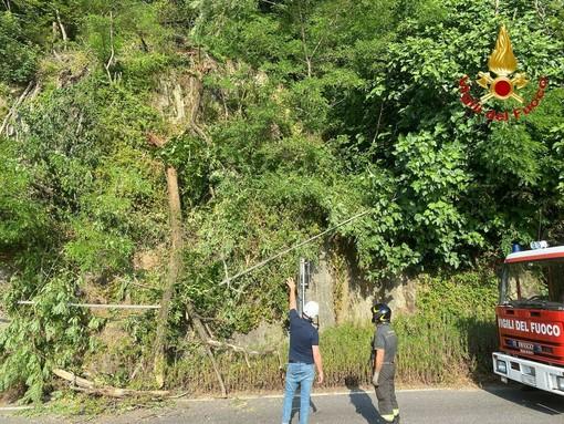 Frana a Maccagno con Pino e Veddasca, vigili del fuoco in azione e disagi alla circolazione